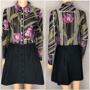 70's Vintage Floral Button Down Dress A Line